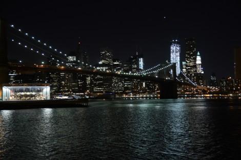 New York Skyline bei Nacht verwackelt wegen Trunkenheit