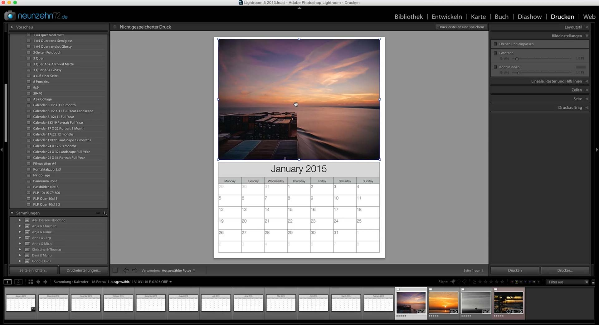 Lightroom-Kalender