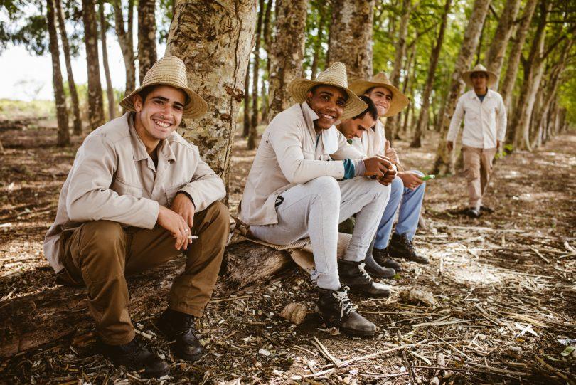 Arbeiter am Straßenrand auf dem Weg nach Trinidad (Kuba)