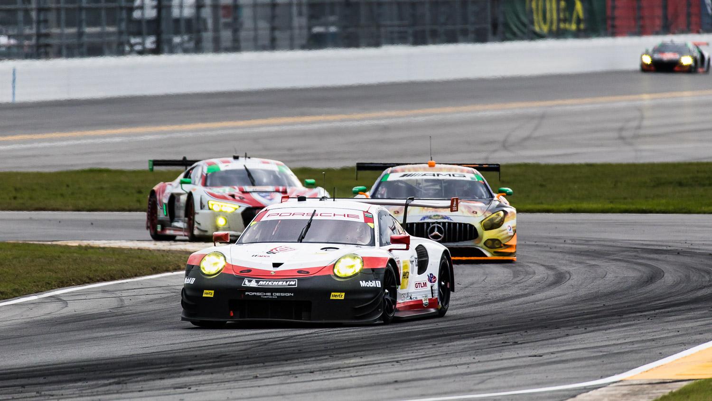 24-Stunden-Rennen Daytona 2017: Porsche 911 vor AMG GT und Audi R8