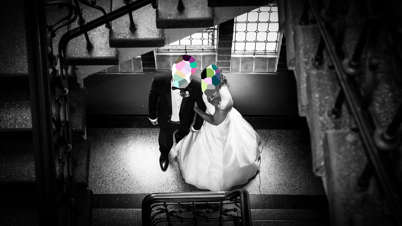 Hochzeitspaar mit Punktierungseffekt