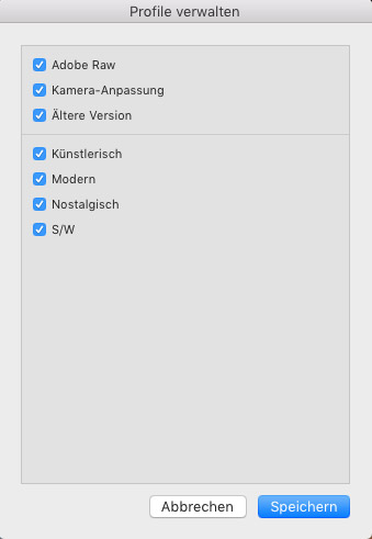 Im Profilmanager kann man einzelne Profilgruppen ein- und ausblenden.