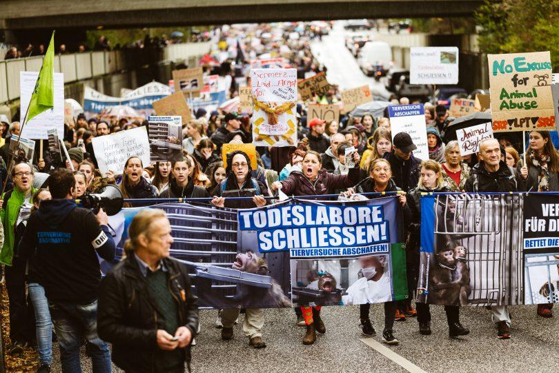 Demo gegen Tierversuche in Hamburg